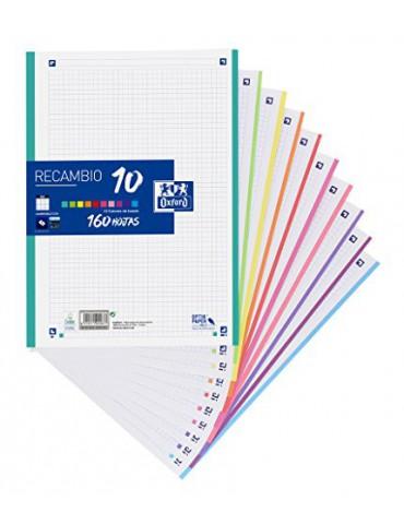 Hojas cuadriculadas A4 Recambio Oxford, School, 10 Banda colores, 160 Hojas, Cuadrícula 5x5, Multicolor