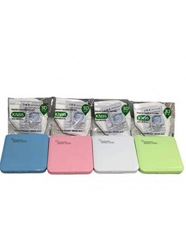 MAGIC SELECT 4xEstuche para mascarillas con 4MASCARAS DE Regalo/Caja para mascarillas  Multicolor, 4 Unidades  Rosa,Verde,Azu