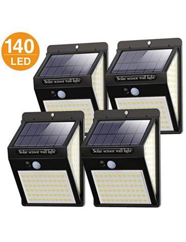 Litogo Luz Solar Exterior 140 LED【4 Pack / 3 Modos】con Sensor de Movimiento, Luces LED Solares Exteriores 270º lluminación Fo