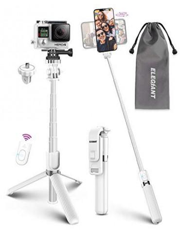 Palo Selfie Trípode, ELEGIANT Selfie Stick 4 en 1 con Control Remoto Bluetooth Aluminio para Cámara Gopro para Viaje Rotación