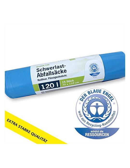 TRILine - Bolsa de basura para jardín, 120 L, color azul, extrafuerte, resistente, 100% reciclable, 1 rollo, 15 unidades