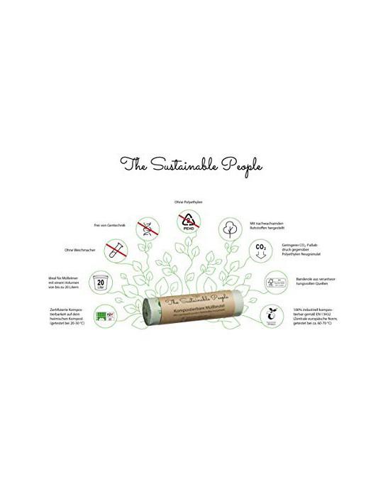 TSP - Bolsas de basura orgánicas  20 L, 70 bolsas de basura seguras y resistentes a desgarros, certificado OK compost Home, 1