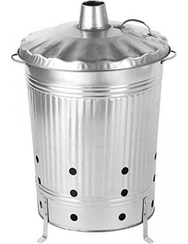 Satis - Bidón para fuego, 90 litros, galvanizado, para eliminar rápida y fácilmente los residuos de jardín, barril de metal p