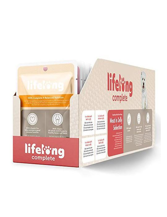Marca Amazon - Lifelong Alimento completo para perros adultos - Selección de carne en gelatina, 2,4 kg  24 bolsitas x 100g