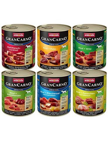 Animonda Gran Carno Comida húmeda para perros adultos, Diferentes variedades, 800 g, Paquete de 6