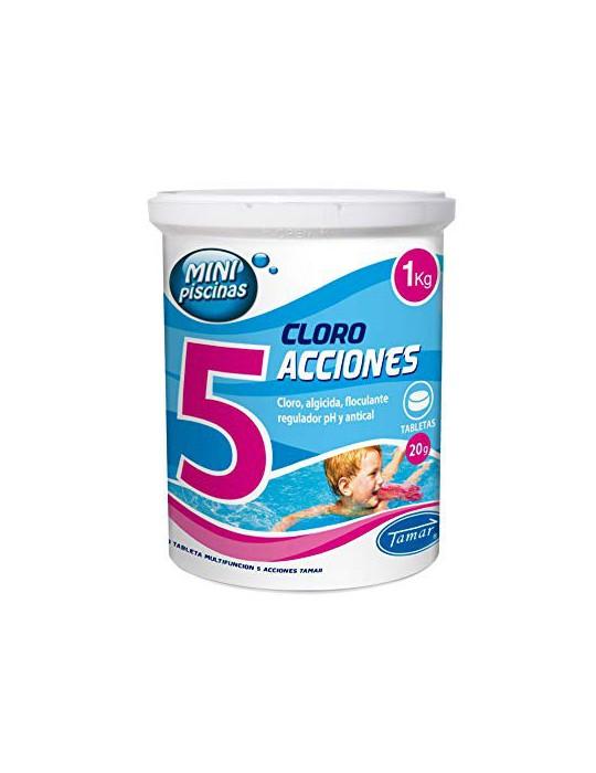 LOLAhome Cloro multifunción Especial Piscinas  1kg - Minitabletas 20gr 5 Funciones