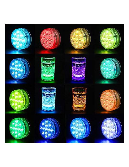 StillCool Luces Sumergibles con 16 Colores 13 LEDs, 4 PZS Piscina Luz LED Impermeable con Magnetica 10 Ventosas y 2 Mandos a